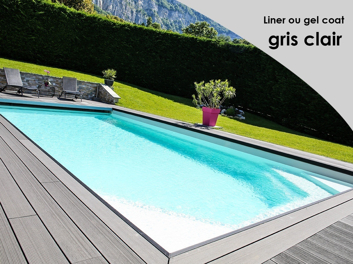 Piscine liner gris 8 best images about piscines pr tes for Liner de piscine couleur